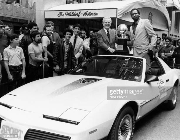 Moses Malone of the Philadelphia 76ers celebrates during the parade following Game Four of the NBA Finals played on June 2 1983 in Philadelphia...