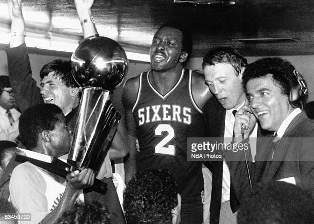 Moses Malone of the Philadelphia 76ers celebrates following Game Four of the NBA Finals played against the Los Angeles Lakers on May 31 1983 at the...