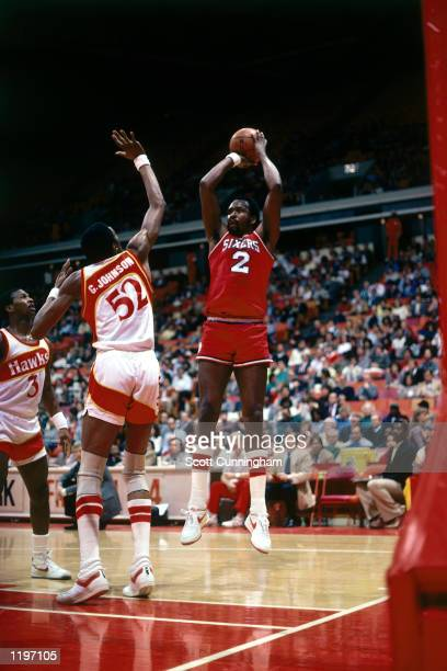 Moses Malone of the Philadelphia 76'ers takes a jumper against the Atlanta Hawks during the NBA game in Atlanta Georgia NOTE TO USER User expressly...