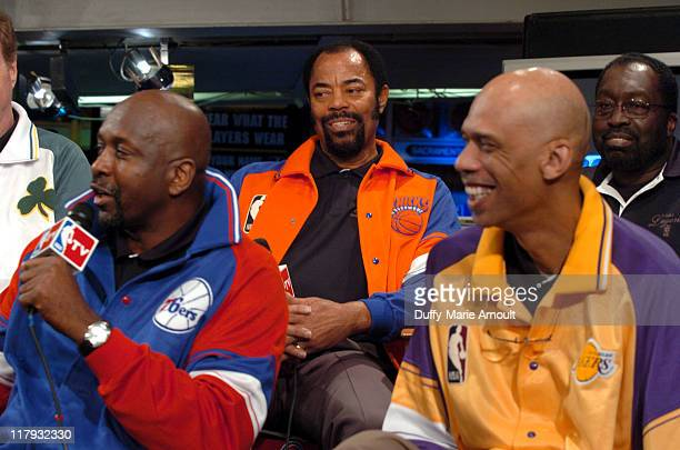 "Moses Malone, Walt ""Clyde"" Frazier and Kareem Abdul-Jabbar"