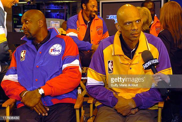 "Moses Malone, Walt ""Clyde"" Frazier and Kareem Abdul-Jabbar with the 2005 Larry O'Brien NBA"