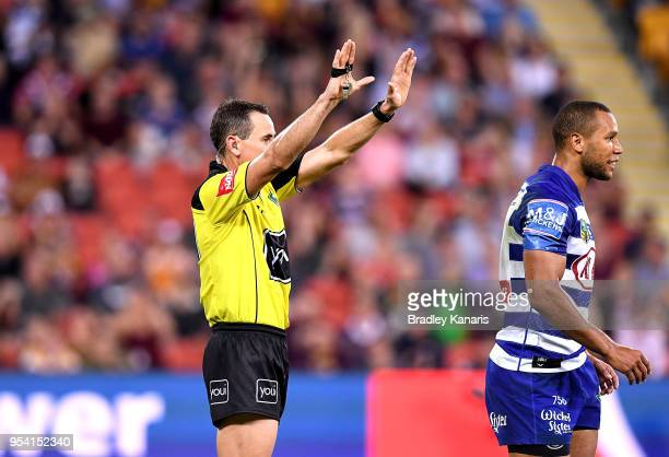 Moses Mbye of the Bulldogs is sin binned during the round nine NRL match between the Brisbane Broncos and the Canterbury Bulldogs at Suncorp Stadium...