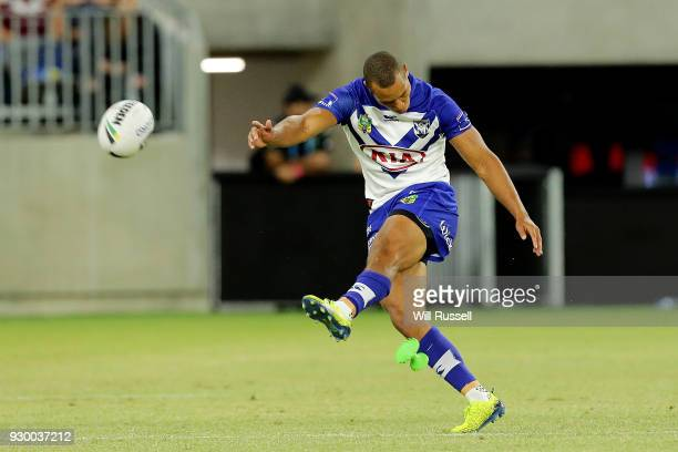 Moses Mbye of the Bulldogs kicks a conversion during the round one NRL match between the Canterbury Bulldogs and the Melbourne Storm at Optus Stadium...