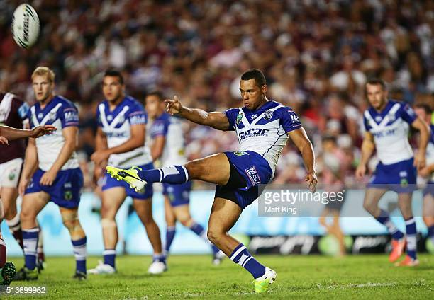 Moses Mbye of the Bulldogs kicks during the round one NRL match between the Manly Warringah Sea Eagles and the Canterbury Bulldogs at Brookvale Oval...