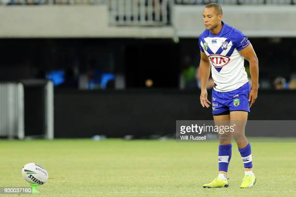 Moses Mbye of the Bulldogs lines up a conversion during the round one NRL match between the Canterbury Bulldogs and the Melbourne Storm at Optus...
