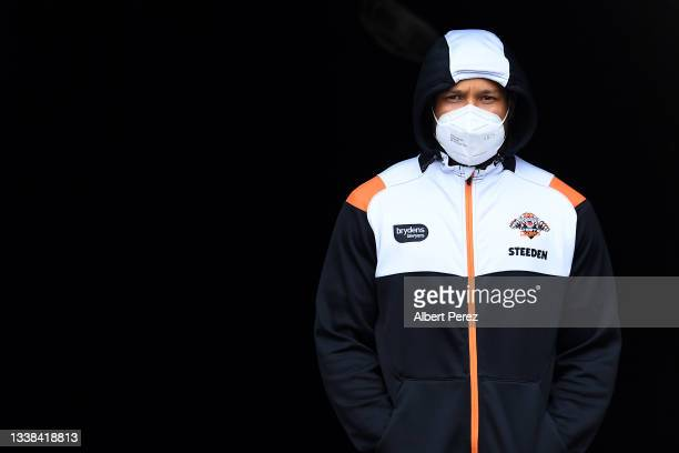 Moses Mbye of the Tigers is seen during the round 25 NRL match between the Wests Tigers and the Canterbury Bulldogs at Moreton Daily Stadium, on...