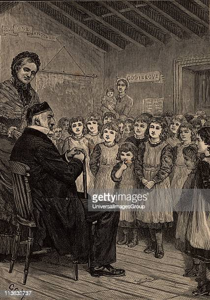 Moses Montefiore Italianborn English philanthropist and campaigner for Jewish rights Here in 1860's with girls of the Isle of Thanet Orphanage Kent...