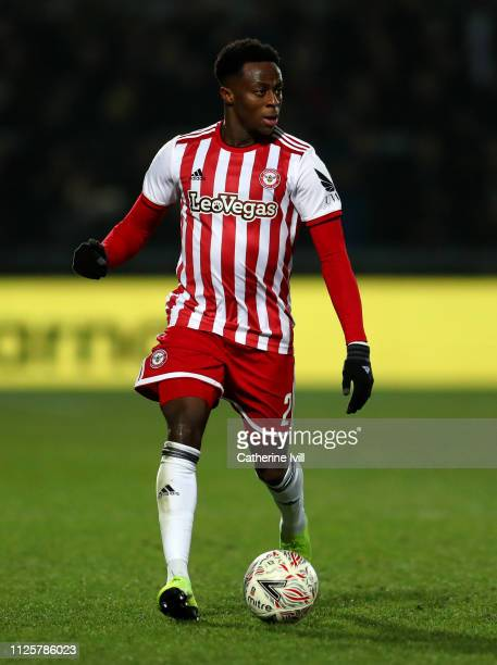 Moses Odubajo of Brentford during the FA Cup Fourth Round match between Barnet and Brentford at The Hive on January 28 2019 in Barnet United Kingdom
