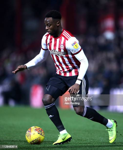 Moses Odubajo of Brentford during the Sky Bet Championship match between Brentford and Aston Villa at Griffin Park on February 13 2019 in Brentford...