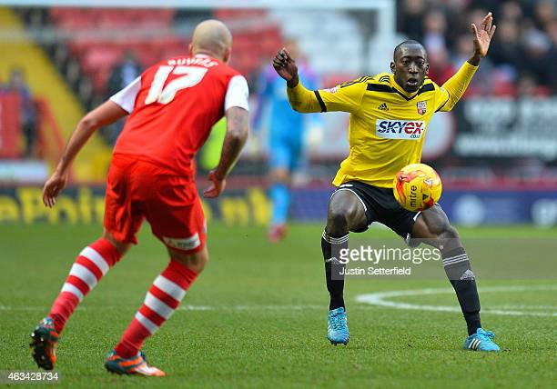 Moses Odubajo of Brentford FC during the Sky Bet Championship match between Charlton Athletic and Brentford at The Valley on February 14 2015 in...
