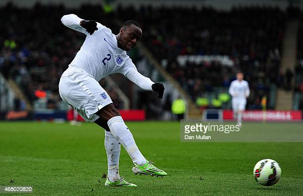 Moses Odubajo of England takes a shot at goal during the International Friendly match between England U20 and USA U20 at Home Park on March 29 2015...