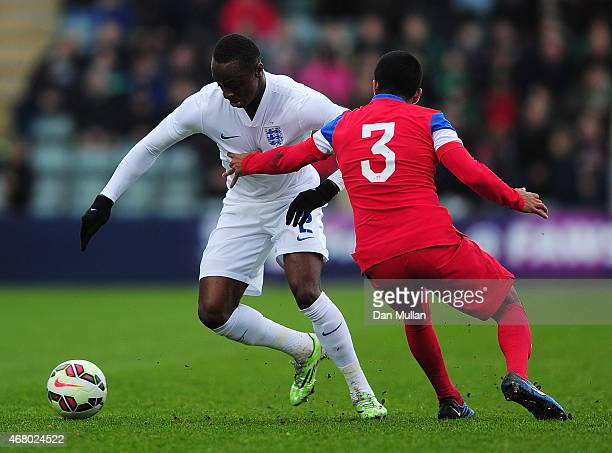 Moses Odubajo of England takes on John Requejo of United States during the International Friendly match between England U20 and United States U20 at...