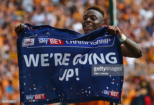 Moses Odubajo of Hull City celebrates his team's win and promotion to the Premier League after Sky Bet Championship Play Off Final match between Hull...