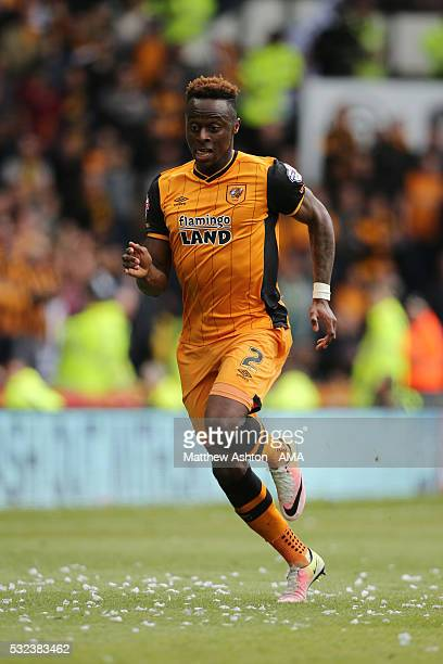 DERBY ENGLAND MAY 14 Moses Odubajo of Hull City during the Sky Bet Championship Play Off First Leg match between Derby County and Hull City at the...