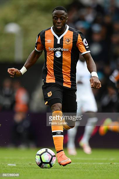 Moses Odubajo of Hull City runs with the ball during the Premier League match between Swansea City and Hull City at Liberty Stadium on August 20 2016...