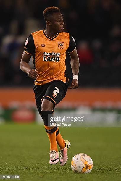 Moses Odubajo of Hull in action during the Sky Bet Championship match between Hull City and Brentford on April 26 2016 in Hull England