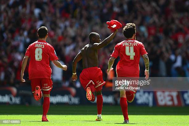 Moses Odubajo of Leyton Orient celebrates his goal during the Sky Bet League One Playoff Final between Leyton Orient and Rotherham United at Wembley...
