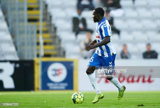 Moses Opondo of OB Odense controls the ball during the Danish 3F Superliga match between OB Odense and FC Copenhagen at Nature Energy Park on...