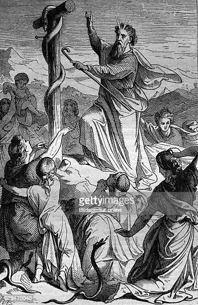 Moses raises the snake historical steel engraving from the year 1860