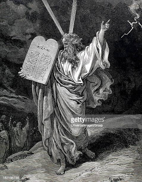 Moses received the Tablets of Law Engraving