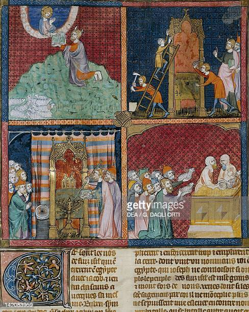Moses receives the tablets of the law Construction of the ark and tenders miniature from Guyart des Moulins and Peter Comestor's Bible manuscript...