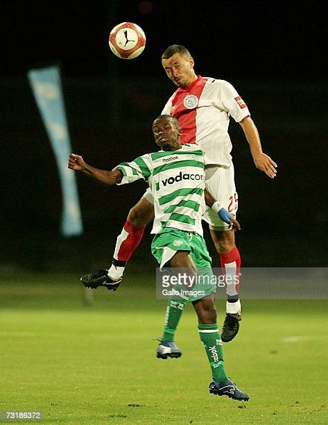 Moses Spandeel and Brett Evans during the PSL match between Ajax Cape Town and Bloemfontein Celtic on February 2 2007 at Athlone Stadium in Cape Town...