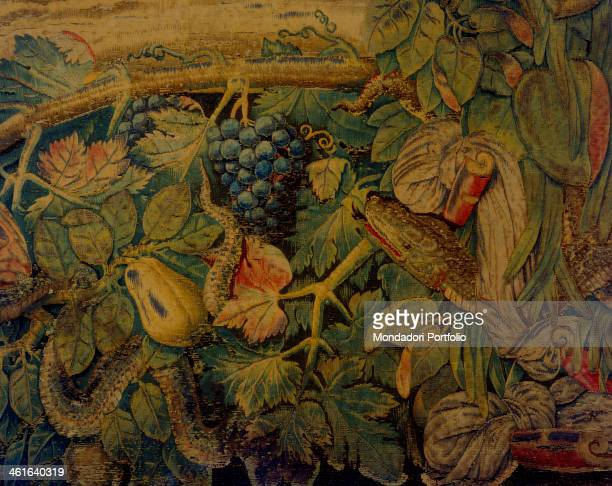 Moses' Stories The Bronze Snake by Giovanni or Nicolas Karcher 16th Century tapestry Italy Lombardy Milan Duomo Museum Detail The edge with vines and...