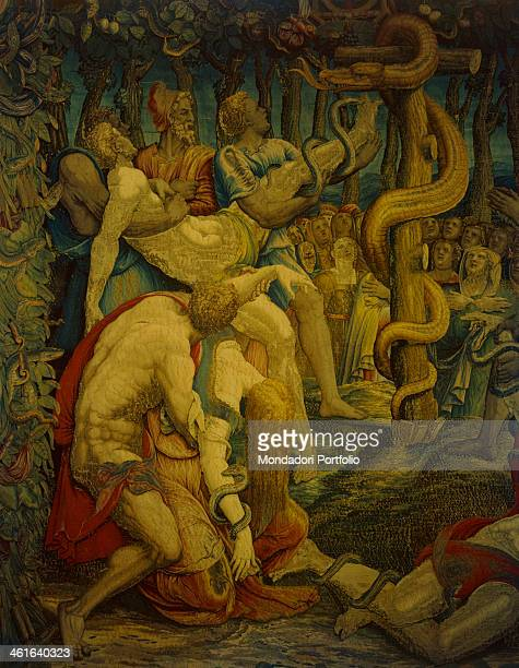 Moses' Stories The Bronze Snake by Giovanni or Nicolas Karcher 16th Century tapestry Italy Lombardy Milan Duomo Museum Detail In a frame of leaves...