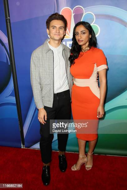 Moses Storm and Kiran Deol attend the 2019 TCA NBC Press Tour Carpet at The Beverly Hilton Hotel on August 08, 2019 in Beverly Hills, California.