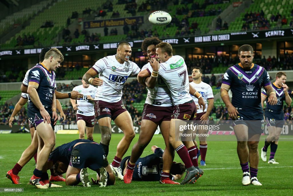 Moses Suli of the Manly Sea Eagles celebrates after crossing the line to score a try during the round 11 NRL match between the Melbourne Storm and the Manly Sea Eagles at AAMI Park on May 19, 2018 in Melbourne, Australia.