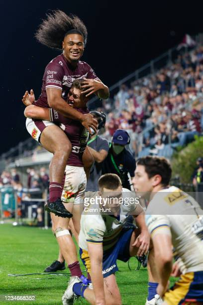 Moses Suli of the Sea Eagles celebrates after scoring a try during the round 22 NRL match between the Manly Sea Eagles and the Parramatta Eels at...