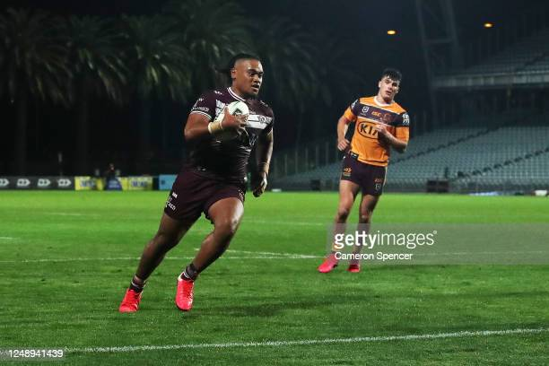 Moses Suli of the Sea Eagles crosses for a try during the round five NRL match between the Manly Sea Eagles and the Brisbane Broncos at Central Coast...