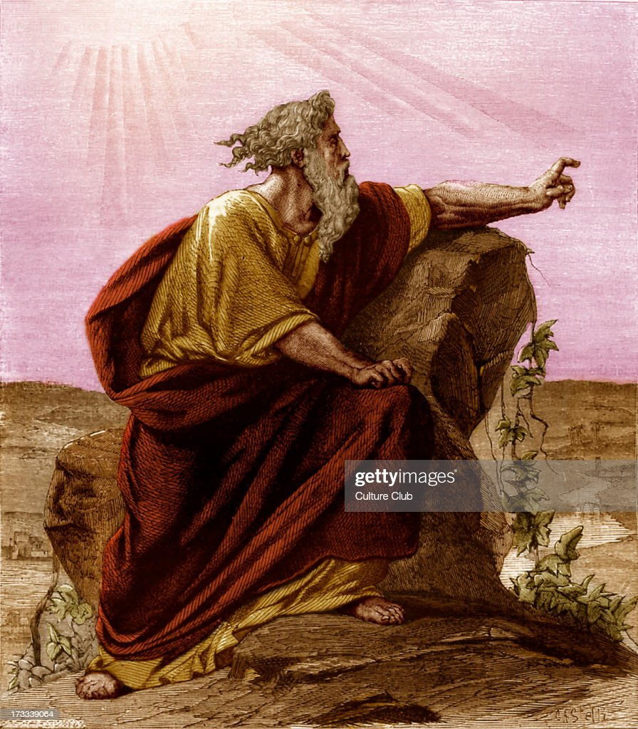 Moses viewing the promised land from Pisgah, mount Nebo. Deuteronomy, chapter XXXIV.