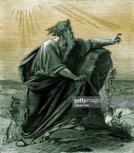 Moses viewing the promised land from Pisgah mount Nebo Deuteronomy chapter XXXIV Tinted version
