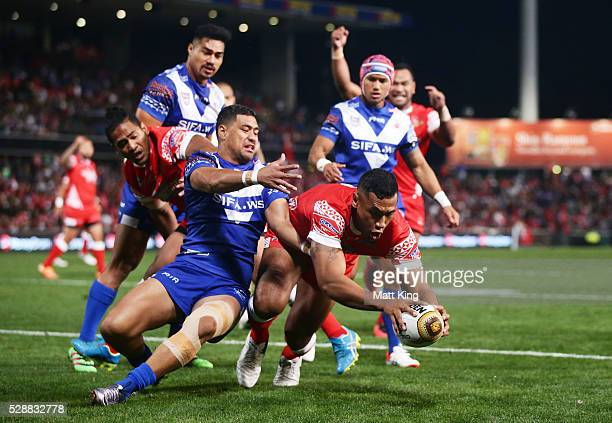 Mosese Pangai of Tonga scores a try during the International Rugby League Test match between Tonga and Samoa at Pirtek Stadium on May 7 2016 in...