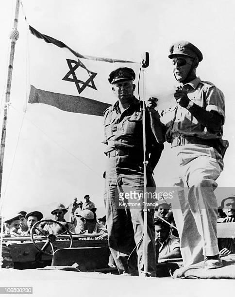Moshe Dayan And Cfo Simchon In The Sinai In 1956