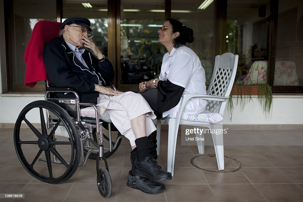 Moshe Rute smokes cannabis at the Hadarim nursing home, on March 09, 2011 in Kibutz Naan, Israel. In conjunction with Israel's Health Ministry, The Tikon Olam comany is currently distributing cannabis for medicinal purposes to over 1800 people in Israel.