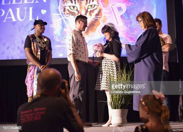 Moshow The Cat Rapper looks on as Paul and Colleen get married at CatCon Worldwide 2018 at Pasadena Convention Center on August 5 2018 in Pasadena...