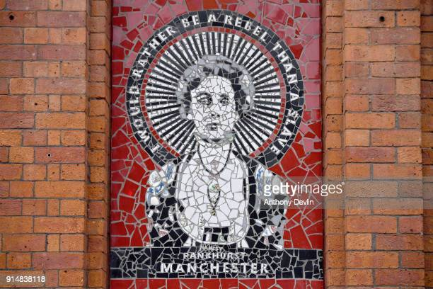 A mosiac of Emmeline Pankhurst is seen on Affleck's Palace in the Northern Quarter of Manchester on February 6 2018 in Manchester England On February...