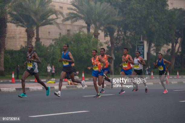 Mosinet Geremew of Ethiopia is out on the course during the Standard Chartered Dubai Marathon 2018 He won in a new course record time of 20400
