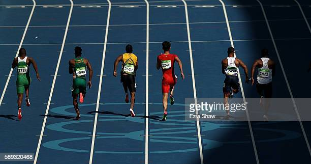 Mosito Lehata of Lesotho Henricho Bruintjies of South Africa Yohan Blake of Jamaica Peimeng Zhang of China James Ellington of Great Britain and...