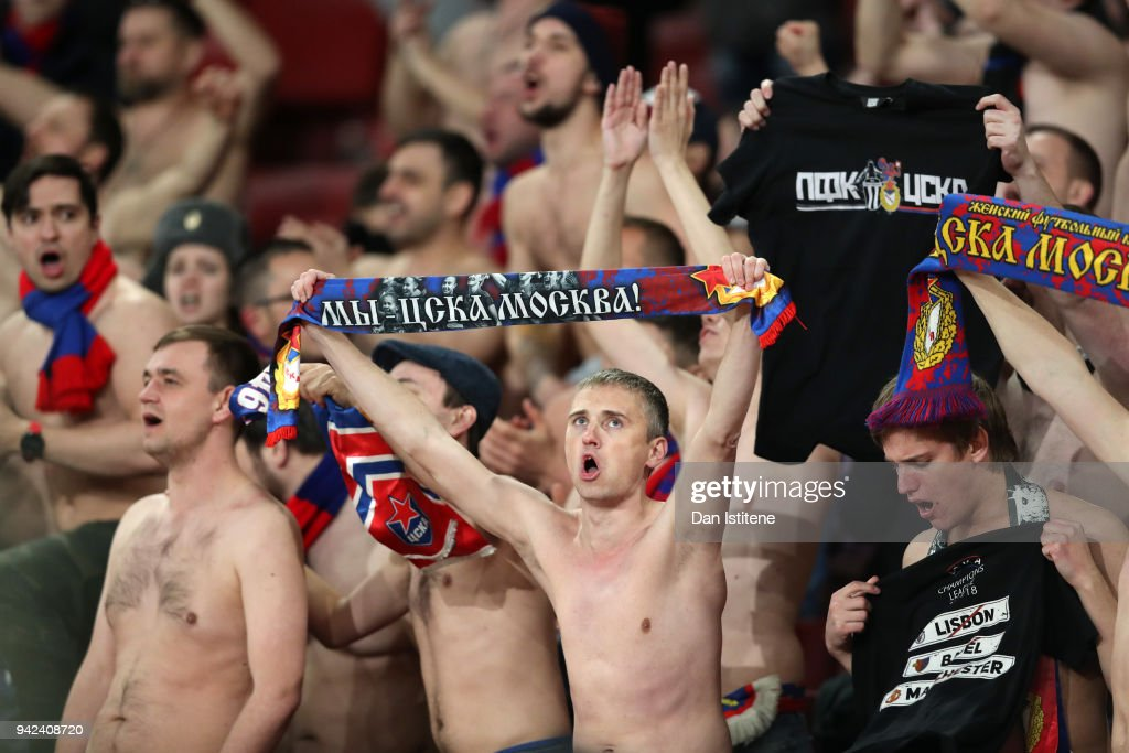 Moskva fans sing during the UEFA Europa League quarter final first leg match between Arsenal FC and CSKA Moskva at Emirates Stadium on April 5, 2018 in London, United Kingdom.