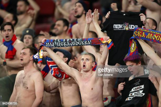 Moskva fans sing during the UEFA Europa League quarter final first leg match between Arsenal FC and CSKA Moskva at Emirates Stadium on April 5 2018...