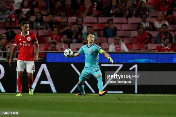 Moskva«s goalkeeper Igor Akinfeev from Russia during SL Benfica v CSKA Moskva UEFA Champions League round one match at Estadio da Luz on September 12...