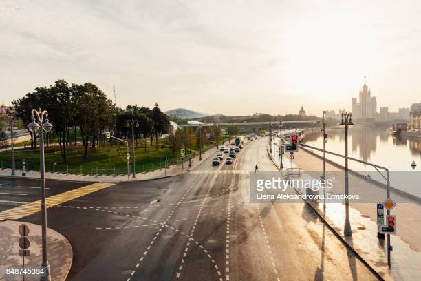 Moskvoretskaya embankment and Zaryadye Park in the morning, Moscow, Russia