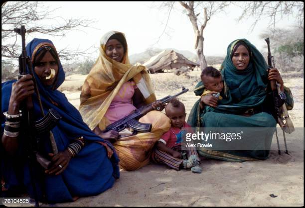 Moslem fighters of the Eritrean People's Liberation Front with their children 20th June 1978 The woman hold Russianmade Kalashnikov AK47s