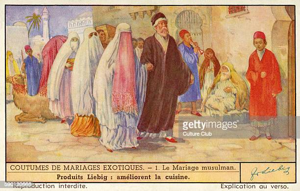 Moslem wedding ceremony Bride is led by her father and musicians with their instruments lead the way Wedding customs Liebig card 1941