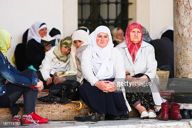 Moslem women on the steps of mosque in Sarajevo ,Bosnia