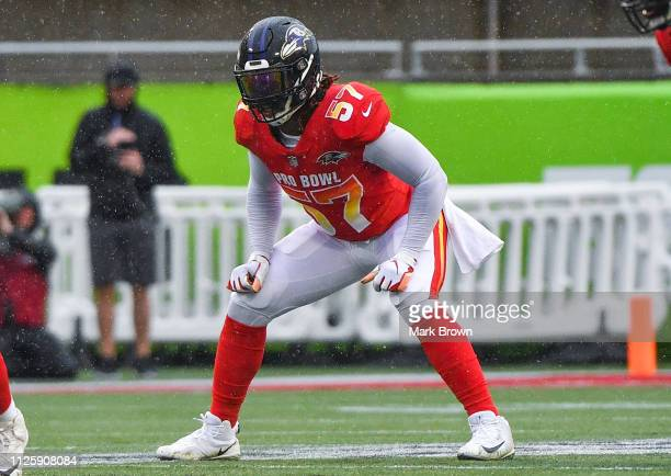 C J Mosley of the Baltimore Ravens in action during the 2019 NFL Pro Bowl at Camping World Stadium on January 27 2019 in Orlando Florida