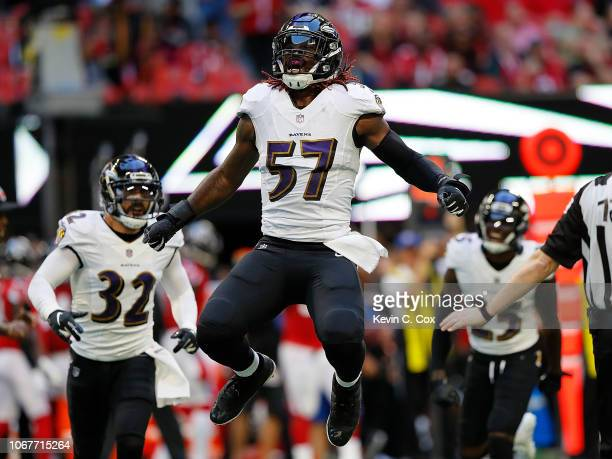 J Mosley of the Baltimore Ravens reacts after a defensive stop against the Atlanta Falcons at MercedesBenz Stadium on December 2 2018 in Atlanta...